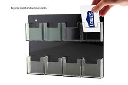 Business Card Holder Acrylic 8 Pocket Clear And Black Vertical Wall Mount Qty 24
