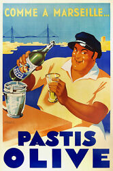 Comme à Marseille Pastis Olive 1936 Vintage French Drink Advertising Poster