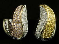 18k Two Tone Hinged Hoop Earrings With Yellow, White And Pink Diamonds