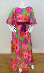 Vintage 60and039s 70and039s Pink Floral Print Velvet Bow Angel Sleeve Maxi Dress Small