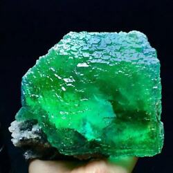 1024g Extreme Transparent Larger Particles Blue/green Stepped Surface Fluorite