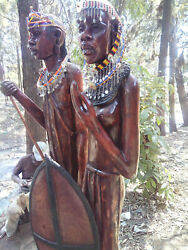(2) 79IN Solid Rosewood Maasai Man & Woman Africa Original Handcarved Statues