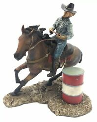 Cowgirl On Horse Back Rodeo Lassoing Barrell Western Figurine Resin It/121