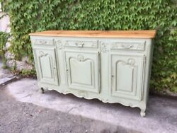 Elegant Provencal Sideboard Lacquered In Sage Green With 3 Doors - Restored