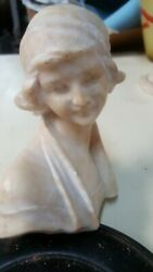 Antique Marble Alabaster Bust Italy 7 3/8 19th C Victorian