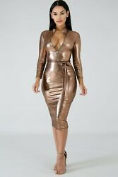Long Sleeve Fitted Textured Metalic Gold Bodycon Zipper Midi Dress S M L