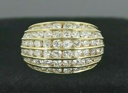 Vintage Estate J.cooper 18k Gold 2.60ct Round Diamond Dome Channel Ring Band 6