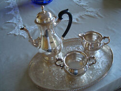 Vintage Barker Ellis Silver Plate Coffee Set With Tray Made In England