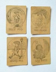 Vintage Old Maid Cards Set Of 4 No Color No Coating Mrs. Peach, Billy Pig, Lily