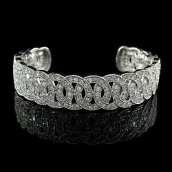 8.25 Ct Round Simulated Circles Cuff Bracelet In 14k White Gold Over Silver 925