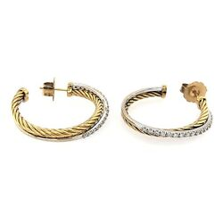 DAVID YURMAN EARRINGS 18K Yellow Gold Sterling Silver Hoop Diamonds Pave .75ctw