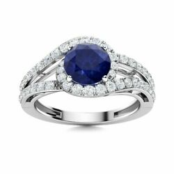 1.55 Carat Natural Certified Blue Sapphire And Si Diamond Ring In 14k White Gold