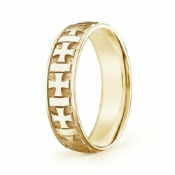 6mm Comfort Fit Menand039s Cross Wedding Band In 14k Gold/platinum Size 4-14