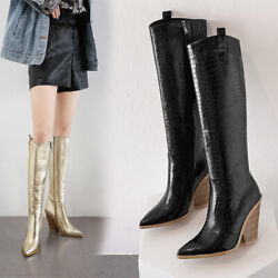 Occident Womens Pointed Toes Block Heels Zip Knee High Boots Outdoor Shoes Super