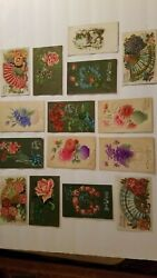 Antique Vintage Postcard Lot Of 15 Colorful Floral Designs Early 1900's Germany
