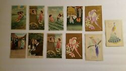 Antique Vintage Postcard Lot Of 11 Colorful Water And Birds Themes - Germany