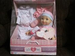 You And Me 14 Baby Doll With Keepsake Basket Reusable Storage Trunk-toys R Us-new