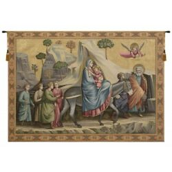 Flight Into Egypt By Giotto Mary Baby Jesus Italian Woven Tapestry Wall Hanging