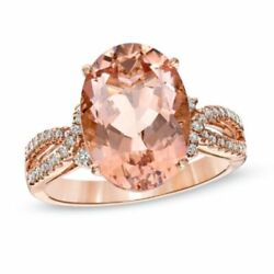 Oval Morganite And 1/5 Ct Simulated Diamond Ring In 14k Rose Gold