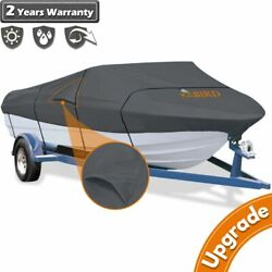 King Bird 600d Boat Cover With Vents For Trailerable V-hull Storage Dark Grey