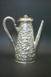 Antique American Sterling Silver Heavily Repousse Tea Coffee Chocolate Pot Best