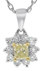 .59ct White And Yellow Diamond 18kt White Gold 3d Princess And Round Flower Pendant