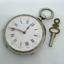 Pre-owned Pocket Watch 1900 Manual-wind Watch Features 45mm Silver Plate Case