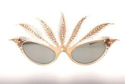 Unique hand made in france feathers with rhinestones mardi gras sunglasses NOS