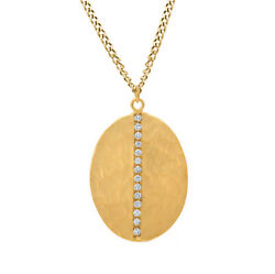 8/9 Ct Round Cut D/vvs1 Solid 14k Yellow Gold Oval Design Pendant Necklace
