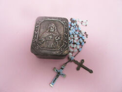 Rosary Box Silvermetal Two Rosaries Swireld White Glass Turquoise Glass Lourdes