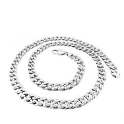 .925 Sterling Silver Handmade Cuban Link Necklace 7.85 Mm