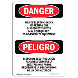 Osha Danger - Risk Of Electric Shock More Than One | Heavy Duty Sign Or Label