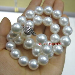 Aaaaa Luster 1713-15mm Round Real Natural South Sea White Pearl Necklace 14k