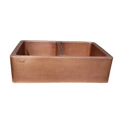 Coppersmith Creations Double Bowl Hammered Antique Copper Kitchen Sink