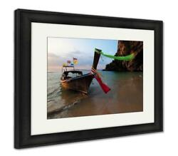 Framed Print, Boat Thai In The Beautiful Miracle Beach Crystal Clear Water At Kr