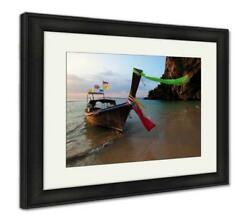 Framed Print Boat Thai In The Beautiful Miracle Beach Crystal Clear Water At Kr