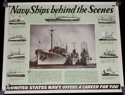 Wwii Navy Ships Behind The Scenes United States Navy Recruitment Poster