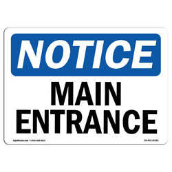 Osha Notice - Main Entrance Sign | Heavy Duty Sign Or Label