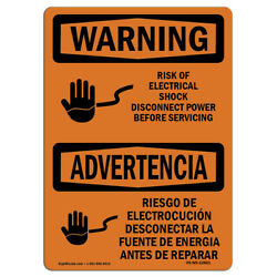 Osha Warning Sign - Risk Of Electrical Shock Disconnect | �made In The Usa