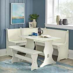 Kitchen Nook Breakfast Set Wood Corner Dining Table Bench Chair Booth White
