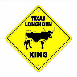 Texas Longhorn Crossing Decal Zone Xing Tall Cattle Ranch Rancher Beef