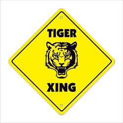 Tiger Crossing Sign Zone Xing Animals Gag Funny Hunter Hunting African Zoo