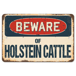 Beware Of Holstein Cattle Rustic Sign Signmission Classic Plaque Decoration