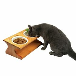 Cat Dining Table Bamboo Ceramic Double Pet Bowls Small Dogs Food Water Feeder