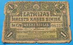 1919 Latvia 1 Rublis Banknote Independence Currency First Year Of Issue