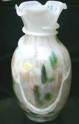 Vintage Murano Multi-colored Opalescent Ruffled Glass Vase W/ Wrapping Ribbon
