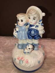 Vintage Music Rotating Music Box Children With Puppy $13.75
