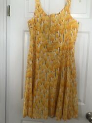 Nine West Colorful Floral Tulips Spaghetti Strap Cotton Sleeveless Dress 14