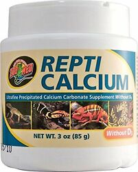 ZOO MED REPTI CALCIUM WITHOUT D3 3 OZ REPTILE SUPPLEMENT. FREE SHIPPING IN USA