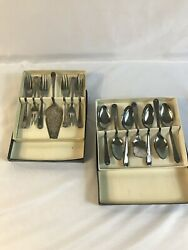 Vintage Sheffield England Silver Plated Pastry Fork And Spoon Set Pastry Server